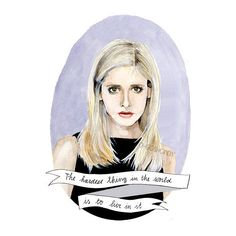 Buffy the Vampire Slayer watercolor portrait PRINT illustration Sarah... ($14) ❤ liked on Polyvore featuring fillers, doodle, drawings en pictures