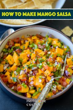 This Mango Salsa is juicy, slightly spicy and sweet. Perfect as a dip, in tacos or as a topping for grilled recipes! #herbivorecucina #mangosalsa #vegetarian #salsarecipes #mexican #mangodishes Mango Recipes, Greek Recipes, Lunch Recipes, Asian Recipes, Mexican Food Recipes, Ethnic Recipes, Delicious Vegan Recipes, Vegetarian Recipes, Healthy Recipes