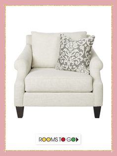 Stylishly appointed Beige chair with gray accent pillows will be a wonderful addition to your living space.