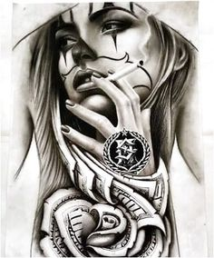 Tattoos have been and are still a big part of many to this day, and many people have one or more tattoos on their bodies. Many different cultures embrace tattoos, and they can bear many different m… Chicano Tattoos, Chicano Drawings, Skull Tattoos, Body Art Tattoos, Sleeve Tattoos, Symbol Tattoos, Payasa Tattoo, Clown Tattoo, Inca Tattoo