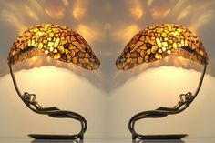 Pair table lamps Bedside lamps. Table lamps. Stained glass
