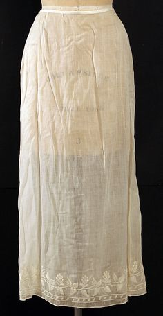 Cotton with embroidered hem - possibly a cut down dress with a later waistband; American or European, likely misdated to the 1840's by the museum. The Met, accession nr. C.I.38.23.288