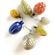 Vintage Ornaments Mercury Glass Pinecones Fruit Heart Christmas Tree... ($28) ❤ liked on Polyvore featuring home, home decor, holiday decorations, pine cone home decor, christmas tree ball ornaments, mercury glass ball ornaments, mercury glass christmas tree ornaments and heart shaped ornaments