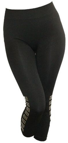 Plus Size Just One Black Seamless Capri Legging w/Embellishment Nailhead Bottom Just One. $15.50
