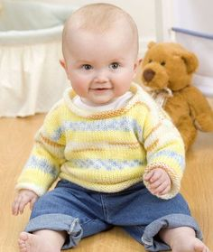 """Simple Baby Pullover - """"Easy"""" level, free pattern from Red Heart"""