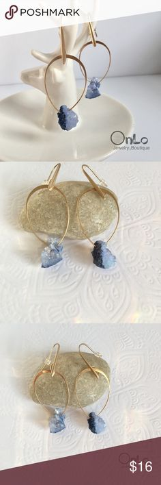 Blue Druzzy Hoops Natural Druzzy Stone in Gold metal. Lead and nickle free. Also available in white. Earring is about two inches long. if you have furthers questions let me know. No Offers or Trades. 😊 bundle and save! OnLo Boutique Jewelry Earrings