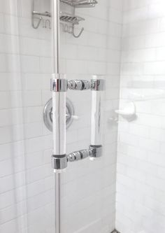 Modern and functional shower door pull, made from the finest cast acrylic in solid nickel or chrome. Lucite is 1 DIA. Door pulls are made to order in Shower Door Handles, Bathroom Shower Doors, Door Pull Handles, Bathroom Hardware, Door Pulls, Hall Bathroom, Master Bathrooms, Washroom, Timeless Bathroom