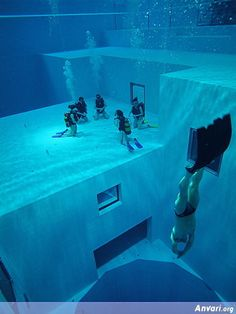 Brussels, Belgium: Deepest Pool in the World - underwater cave and depths up to 33m.
