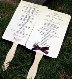 Scrolls Paddle Fan Wedding Program  Set of 25  by WoodlarkDesigns, $50.00