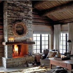Find images and videos about home, design and interior on We Heart It - the app to get lost in what you love. Chalet Design, Luxury Modern Homes, Modern Rustic Homes, Cabin Fireplace, Fireplace Design, Lodge Style, Indoor Outdoor Living, Sweet Home, Interior Design