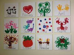 Handprint calendar - gifts for Toddler Art, Toddler Crafts, Preschool Crafts, Infant Crafts, Preschool Christmas, Classroom Crafts, Baby Crafts, Fun Crafts, Diy For Kids