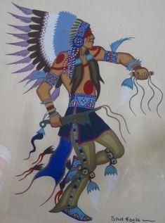Untitled (blue dancer with headdress) Artist: Acee Blue Eagle // Tulsa Indian Art Market - Item details Native American Children, Native American Decor, Native American Paintings, Native American Images, Native American Artists, American Indian Art, Native American History, Native American Indians, Indian Artwork
