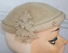Vintage 1940s Leaves Rhinestones Tilt Topper Headpiece by Flashbax, $35.00
