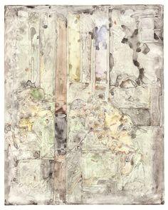 """Jasper Johns, """"Untitled"""" (2015), monotype on Sommerset Velvet Cream paper, 37 3/8 x 29 7/8 inches ."""