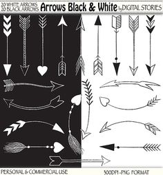 40 Arrows Clipart ARROWS BLACK & WHITE Hand by DigitalStories, €3.20