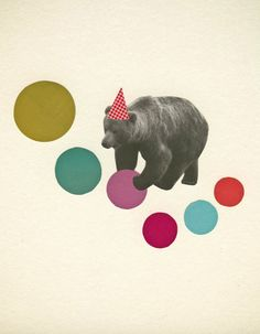 bear wall art - birthday bear via violet may on etsy Art Du Collage, Poster Collage, Pop Art Posters, Kunst Poster, Art And Illustration, Illustrations, Art D'ours, Art Birthday, Humor Birthday
