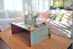 riutilizzare vecchie porte in stile shabby chic tavolino da solotto
