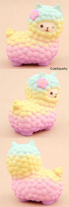Kawaii pastel blue, yellow, and pink llama squishy!