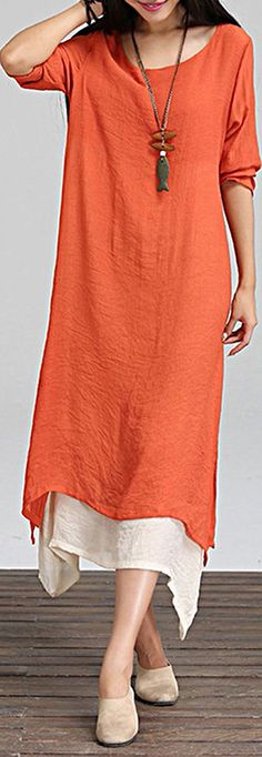 US$ 18.69 Casual Solid Lined Vintage Long Sleeve Women Maxi Dresses