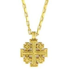 Gold Jerusalem Cross Necklace - 18 inch chain