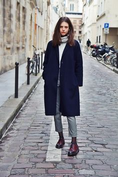 Get this look: http://lb.nu/look/8570525  More looks by Alizée Gamberini: http://lb.nu/gamberinializee  Items in this look:  Zara Coat, Dr. Martens Boots, Subdued Pants, Subdued Knit
