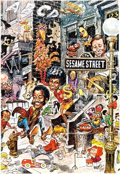 Early Sesame Street poster by Jack Davis, published by the Children's Television Workshop, 1970.