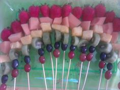 Adventure Time Party: Rainbow fruit kabobs