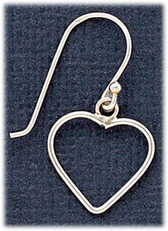 Simply Whispers hypoallergenic and nickel free Jewelry Pierced Earrings Sterling Silver French hook open heart drop