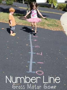 Learn math in a hands on way with this gross motor number line game for kids from Still Playing School (relay games gross motor) Games For Kids Classroom, Kindergarten Math Games, Outdoor Classroom, Math For Kids, Preschool Activities, Preschool Supplies, Future Classroom, Kids Fun, Outdoor Activities