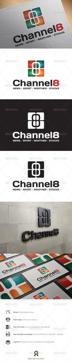 Channel 8 Logo — Vector EPS #company #multimedia • Available here → https://graphicriver.net/item/channel-8-logo/8470125?ref=pxcr