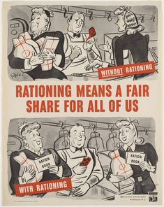US poster about food rationing, WWII World History, World War Ii, Fake History, Modern History, Vintage Advertisements, Vintage Ads, Vintage Food, Vintage Recipes, Vintage Metal