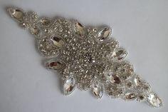 Rhinestone Applique, Rhinestone Bridal Applique, crystal rhinestone applique, Sash Headband Supply, DIY accessories, DIY Weddings RA126 ** Click image to review more details.
