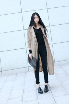 All black w/ a classic trench coat