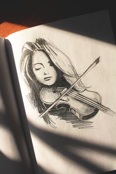 Violine Mädchen Grafikskizze – Keep up with the times. Violin Drawing, Violin Art, Violin Chords, Violin Scales, Violin Painting, Violin Tattoo, Violin Music, Art Drawings Sketches Simple, Pencil Art Drawings