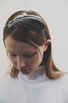 Gloopy painted hair at Faustine Steinmetz AW15 presentation LFW. See more here: http://www.dazeddigital.com/fashion/article/23738/1/faustine-steinmetz-aw15