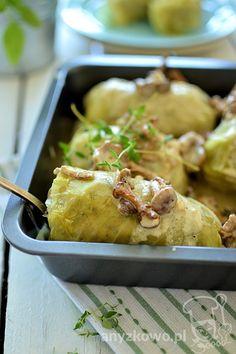 Gołąbki z ryżem i grzybami w kremowym sosie