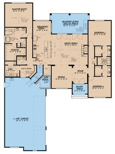 French Country House Plan with 2 Kitchens Floor Master Suite Butler Walkin Pantry CAD Available DenOfficeLibraryStudy European French Country Jack Jill Bat. Best House Plans, Dream House Plans, House Floor Plans, 4000 Sq Ft House Plans, One Level House Plans, Open Floor Plans, Basement House Plans, Basement Stairs, Dream Houses