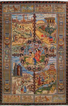 "Buy Tabriz Persian Rug 6' 3"" x 9' 7"", Authentic Tabriz Handmade Rug"