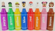 Paw Patrol Giant Crayons Frozen Elsa Minnie Mouse Toys Playset for Kids to Learn Colors Good2Grow. We learn colors with our giant crayons. Our colors we learn are purple green yellow blue red orange pink and brown. Our charcters are from Toy Story Marvel Superheroes Paw Patrol Disney Frozen Mickey Mouse Clubhouse and Sofia the first. Our characters are Buz Lightyear Hulk Chase Marshall Rubble Olaf Minnie Mouse and Sofia the First. This is an educational learning video with toys that can help…