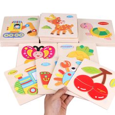 Wooden 3D Puzzle Jigsaw Wooden Toys For Children Cartoon Animal Puzzle Intelligence Kids Educational Toy Kids Gift CL0286H #Affiliate