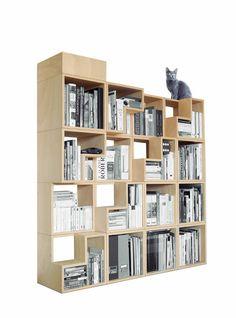 The Cat-Library (2010) by Corentin Dombrecht. 100% Cat-Friendly Modular Bookshelf, FSC-certified Birch Plywood