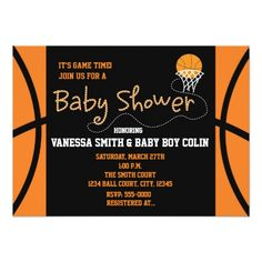 BASKETBALL BABY SHOWER Typography Party Invitation