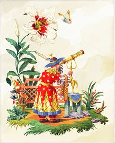 Limited edition giclee print by Harrison Howard of a chinoiserie astronomer with a telescope in a fantasy scene with a giant lily next to him. Decoration, Art Decor, Chinoiserie Chic, China Painting, Western Art, Chinese Art, Zentangle, Watercolor Paintings, Art Paintings