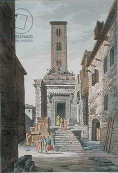 Temple of Aesculapius, Split, Croatia, c.1820 (coloured engraving), Raineri, Vittorio (19th century) / Bibliotheque des Arts Decoratifs, Paris, France / Archives Charmet / The Bridgeman Art Library