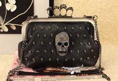 stone skull ring handbags women/diamond grasp evening shoulder bag/leather messenger bag women free shipping black,orange, Khaki  $17.99