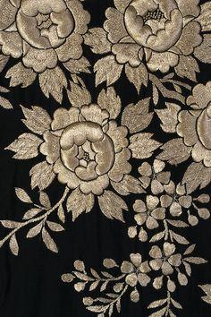 Detail of embroidery on black silk kimono, Japanese, ca. 1920-40, KSUM 1990.35.3 ab.