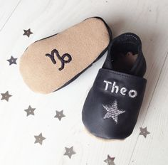 Personalized star sign baby shoes from Born Bespoke