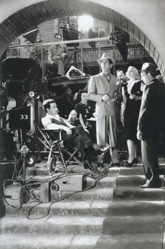 Humphrey Bogart, Claire Trevor, and director William Wyler on the set of Dead End (1937) via aladyloves