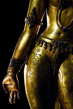 "Gilt-Copper Figure of TaraNepalese, 13th Century keehuachee        .  From Wiki: Tara (Sanskrit: तारा, tārā; Tib. སྒྲོལ་མ་, Drolma) or Ārya Tārā, also known as Jetsun Dolma (Tibetan language:rje btsun sgrol ma) in Tibetan Buddhism, is a female Bodhisattva in Mahayana Buddhism who appears as a female Buddha in Vajrayana Buddhism. She is known as the ""mother of liberation"", and represents the virtues of success in work and achievements. In Japan she is known as Tarani Bosatsu, and little-kn"