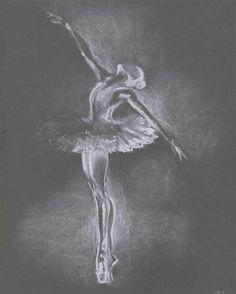 Ballerina sketch. Ballerina Illustration. Ballet Dancer. Ballerina pastel drawing.Pastel drawing.Original. Light drawing on dark paper. 8x10 sarah